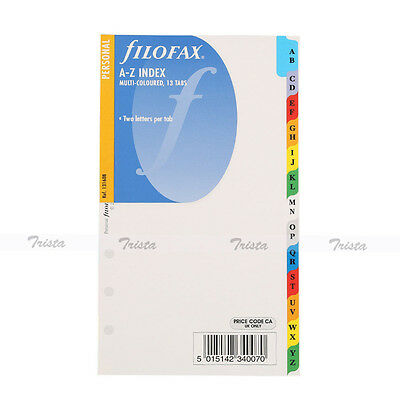Filofax Personal A-Z Index Multi-Colored -2 Letters Per Tab Insert Refill-131608