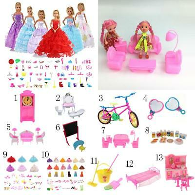 Doll House Plastic Miniature Furniture Play Sets Toy for 1/6 Barbie 12inch Dolls