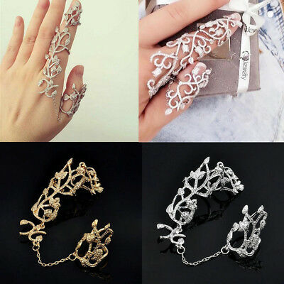 Knuckle Ring Chain Link Flower Double Full Finger Ring For Women Nice Jewelry 1x