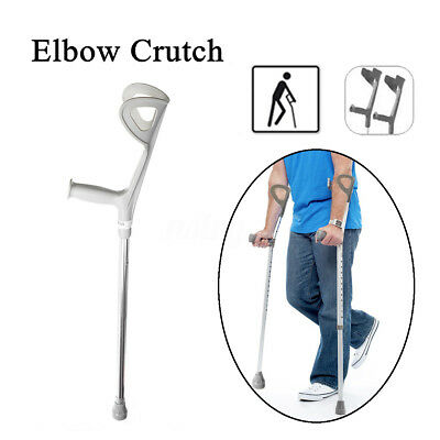 Adjustable Forearm Elbow Underarm Crutch Crutches Walking Stick Aid Aluminium AU