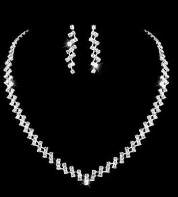 Crystal White Silver plated Diamante Necklace and earrings set - Gift