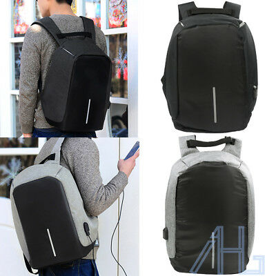 New Unisex Anti-Theft Backpack Laptop USB Port Charger Travel School Oxford Bags