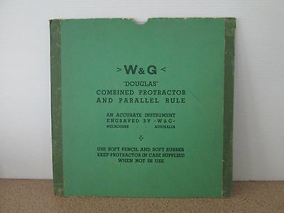 Vintage W & G Douglas Combined Protractor And Parallel Rule Melbourne Australia