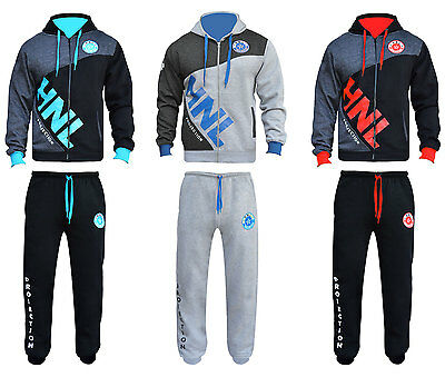 HNL Mens Full Zip Tracksuit Diag Contrast Hoodie Cuffed Joggers Bottoms Suit