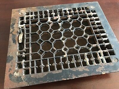VICTORIAN Cast Iron Floor Grille 10.5x9.75 Heat Grate Register Vent Salvage