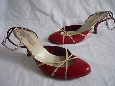 Quality Vintage Italian Red Leather Shoes with Ankle Straps Size 38.5 / 5.5