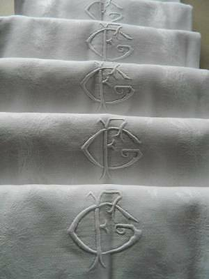 "Antique 12 French linen damask table napkins hand embroidery monogram  ""F.G"" G.F"