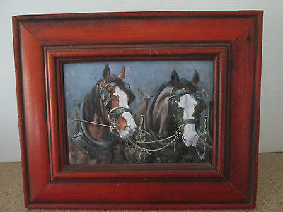 Framed Print Wood Frame Draft Horse Clydesdale Harness Working Horses