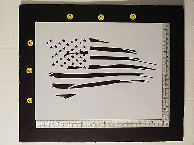 "Distressed US United States American Flag 8.5"" x 11"" Stencil FAST FREE SHIPPING"