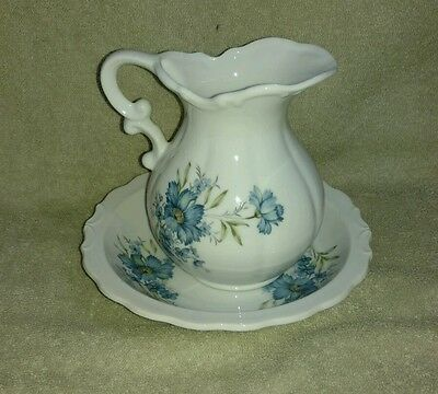 Vintage Small Blue Floral China Pitcher & Bowl Country EUC