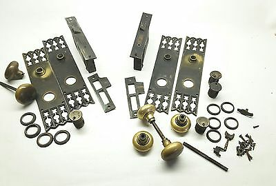 Antique 2 Brass Gothic Style Door Locks with Extra  Knobs and  Parts