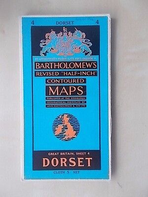 Vintage Bartholomews Contoured Map Sheet 4 Dorset Cloth Edition