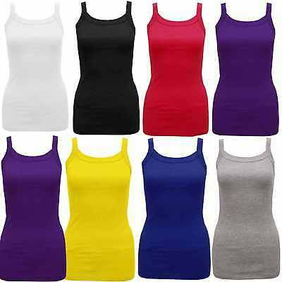 New Womens Ladies Plain Ribbed Stretch Vest Top Summer Strap Top T-Shirt