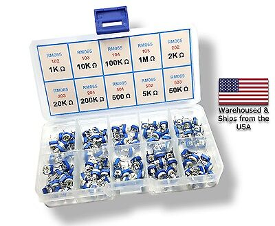 100pcs 10 Value Potentiometer Trimpot Variable Resistor Assortment Box Kit RM065