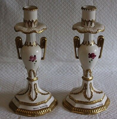 Set of 2 Authentic Pottery Leedsware Sylvia Smith Candle Sticks