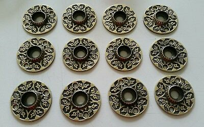 12 Matching Victorian Brass Door Knob Rosettes Back Plates Restored