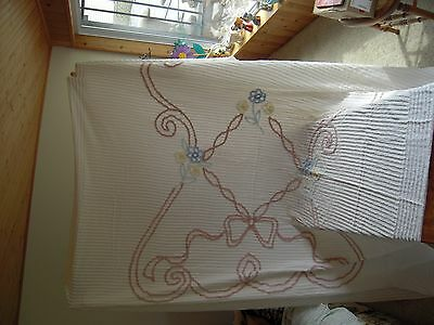 Antique BED SPREAD  CHENILLE   FULL SIZE   EARLY 1900'S