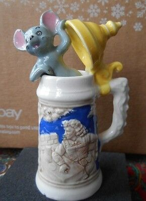 """MOUSE looking out of Vintage MINIATURE Porcelain Beer Mug/STEIN  Approx. 3 1/2"""""""