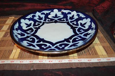 """Porcelain Cobalt Blue and White w/ Gold Outline Design Wall Plate11 3/8"""""""