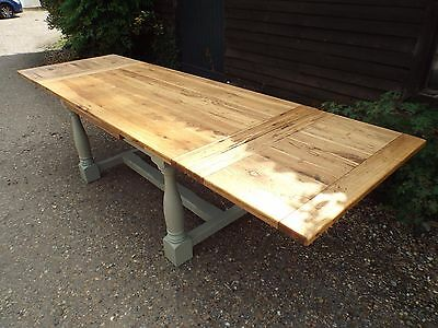 Large Solid Oak Extending Painted Shabby Chic Refectory Dining Table ref10544