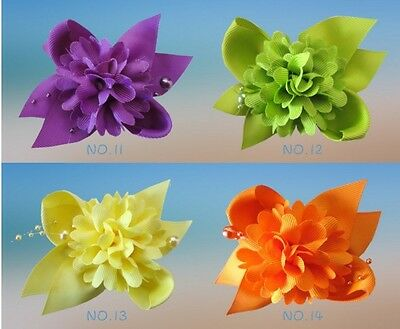 """15 BLESSING Good Girl Boutique 3.5"""" Pompon Hair Bows Clip Accessories Flower"""