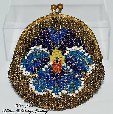 Antique Purse Victorian Beaded Handmade Gilded Fastening