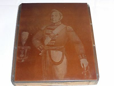 Rare Antique Copper Printing Plate Featuring Admiral Charles Napier 1786-1860
