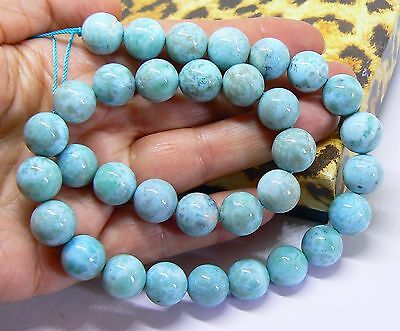 "AAA RARE TOP GRADE ROUND CARIBBEAN BLUE LARIMAR BEADS 15.5"" STRAND 12mm"