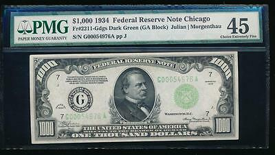 AC 1934 $1000 Chicago ONE THOUSAND DOLLAR BILL PMG 45 comment