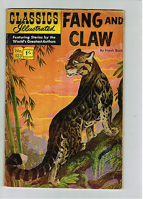 CLASSICS ILLUSTRATED COMIC No. 123 Fang and Claw - 15c  HRN 167