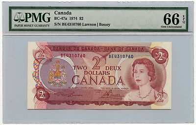 1974 Canada $2 Note BC-47a PMG Gem Uncirculated 66 EPQ