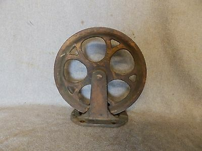 Antique Industrial Theater Stage Curtain Cast Iron Pulley Steampunk Vtg 434-17P