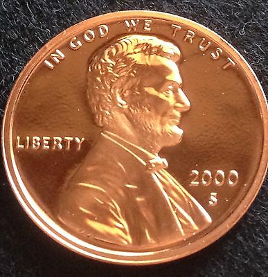 2000-S Proof Lincoln Cent From U.s. Mint Set Deep Cameo Wow Look!