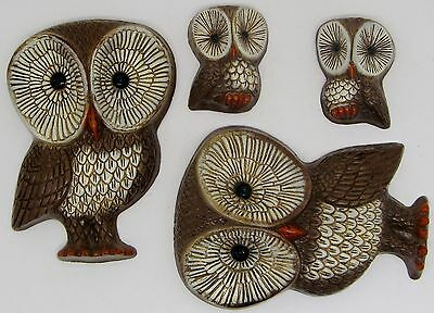Set of 4 Vintage Mid-Century Modern 1970's Owl Family Wall Hanging Decor Foam VG