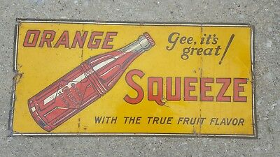 Vintage Orange Squeeze Embossed Tin Sign Soda Bottle Gee Its Great Crush