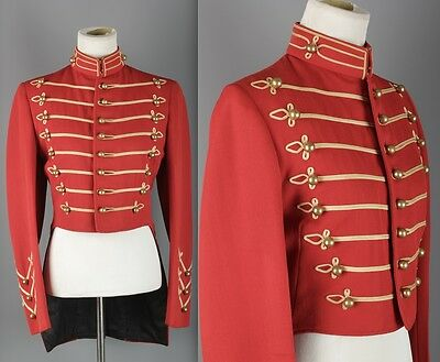 VTG Women's 1930s Red Band Jacket #1501 30s Sgt Pepper Brass Buttons Uniform