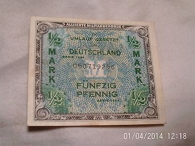 "WWII GERMAN 1/2 MARK NOTE, 3"" x 2 1/2"""