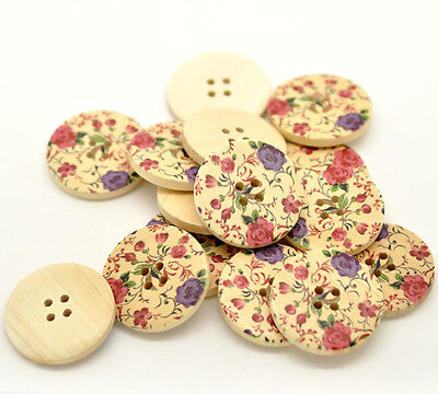 Pack of 5 Pink & Purple Floral Design Decorative Buttons 30mm Wooden / Sewing