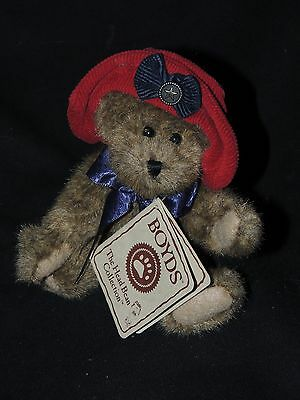 "Boyds bear Mamie Glorybear with red hat and blue ribbon - 7"" with tags"