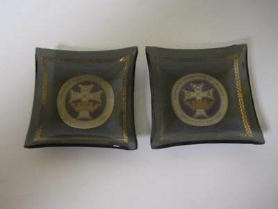 Set of 2 Black Bent Glass Butter Pats Catholic Daughters of America Logo Ashtray