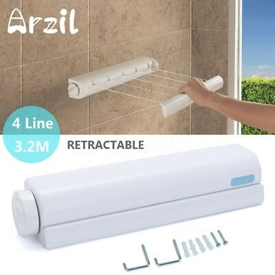 Indoor Wall Mounted Washing 4 Line Clothes Laundry Airer Dryer Retractable White