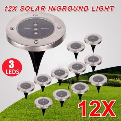 12X Solar Powered LED Buried Inground Ground Light Outdoor Pathway Path Lamp FN