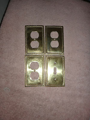 Vintage Solid Brass 3 Outlet Covers and 1 Light Switch Cover