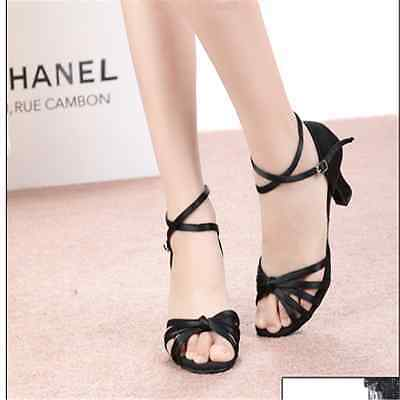 New Adult Women's Soft Ballroom Latin Dance Salsa Shoes Heeled satin face Shoes,
