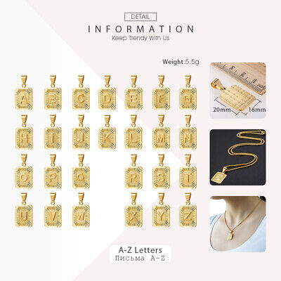 Gold Plated Initial A-Z Letter Pendant Necklace For Mens Womens 18 inch-22 inch
