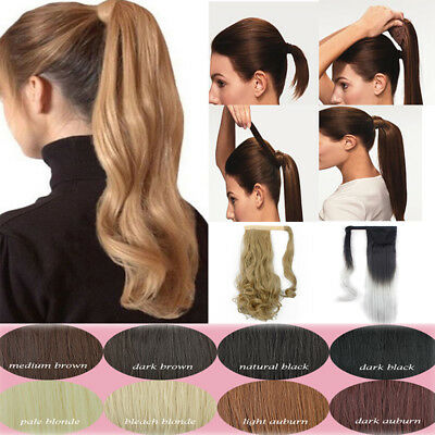 Laavoo 14 Thick Ponytail Clip In Human Hair Extension Highlighted Color Light Brown 8