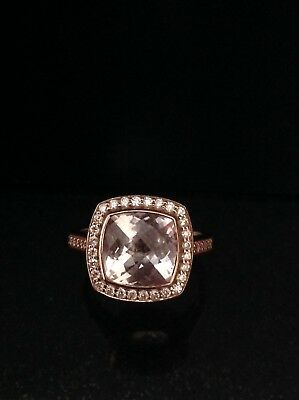 Morganite And Diamond Ring 9ct Rose Gold - Size L 1/2