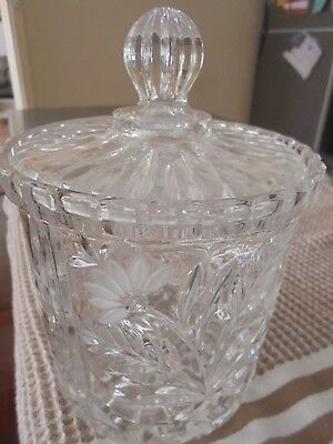 Charming Heavy Crystal Lidded Cookie Jar Large Etched With Frosting