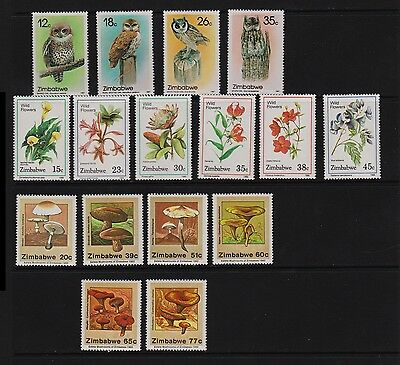 Zimbabwe - Owls, Flowers, Mushrooms, mint sets, cat. $ 32.55