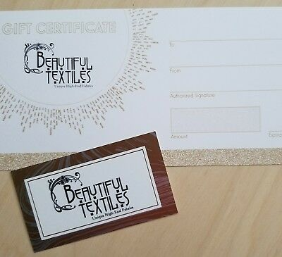 Beautiful Textiles Gift Certificate - ANY AMOUNT! Fabric Lovers and Sewists!